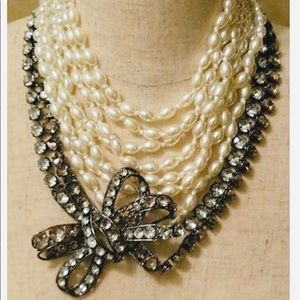 """BCBG Crystal & Pearl """"Bow"""" Necklace"""